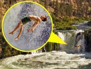 冒險家瀑布上空挑戰鋼絲上睡覺