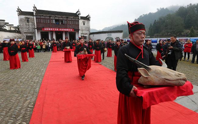 安徽黄山:冬至祭祖 祭祀人员着汉服祭黄帝