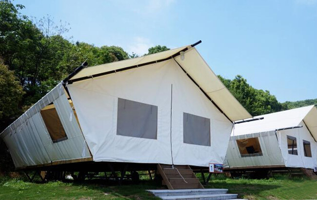 杭州首個帳篷谷投入使用 夜晚可數星星入睡