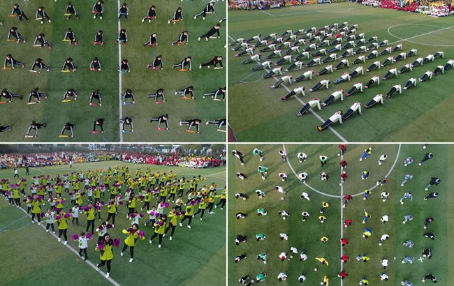 航拍:校园运动会上的特色团体操