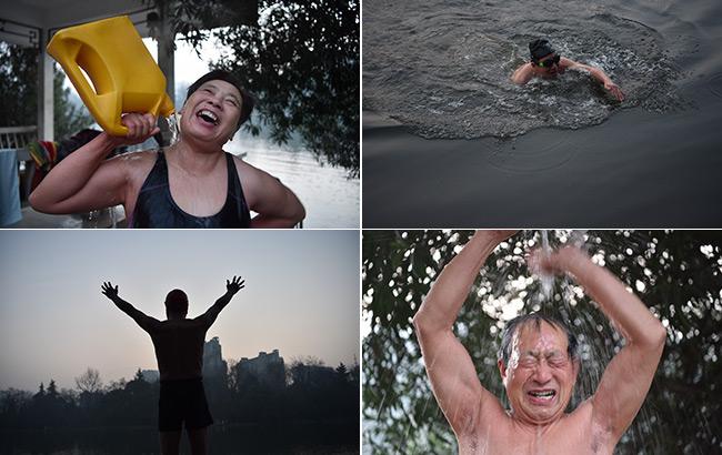 新年第一天,晨曦中快樂的冬泳老人