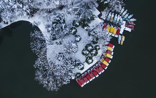 航拍合肥:雪中畫