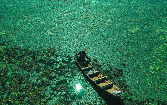 航拍馬鞍山石臼湖濕地 風光美如畫