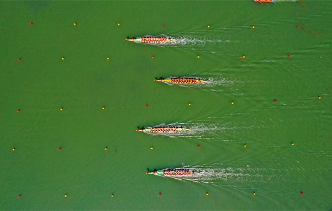 航拍:龍舟競渡迎端午