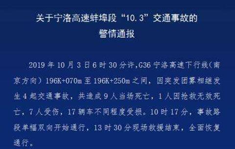 安徽蚌埠高速交通事故致10人死亡