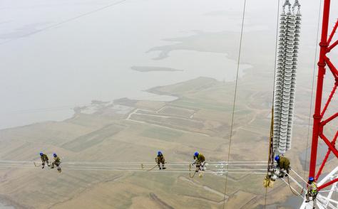 跨越淮河!500千伏輸電工程開始架線