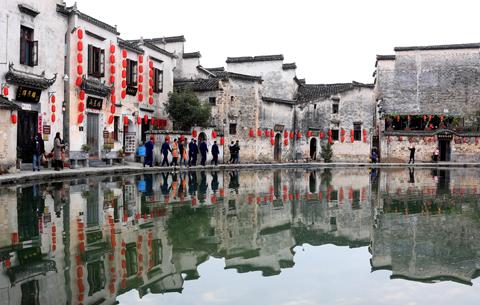 世界文化遺産地宏村:張燈結彩迎新年
