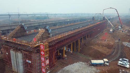 引江濟淮滬蓉鐵路改建工(gong)程跨度最大系桿拱成功澆築