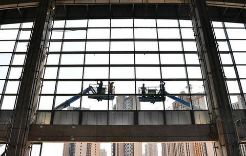 安徽肥西:鐵路站房施工忙