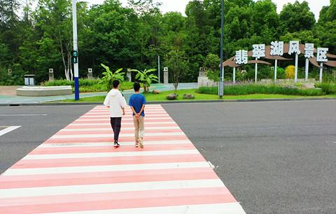 太浪漫了!這裏的斑馬線是粉色的
