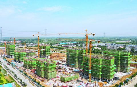 建設中的運河新城西城菊苑安置小區